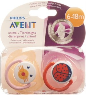 AVENT PHILIPS Sucettes animaux 6-18 m Girl 2 pce